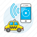 app, application, cab, car, finding, phone, road, smartphone, taxi, taxicab, transportation, vehicle