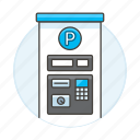 booth, garage, lot, machine, parking, payment, road, transportation icon