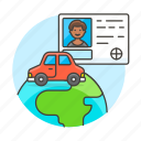 3, driving, global, journey, license, male, road, transportation, travel, vehicle icon