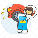 2, accident, agent, call, car, crash, insurance, male, phone, traffic, transportation icon
