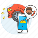3, accident, agent, call, car, crash, insurance, male, phone, traffic, transportation icon