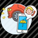 accident, agent, call, car, crash, female, insurance, phone, traffic, transportation icon