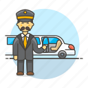 2, chauffeur, event, land, limousine, luxury, male, pickup, taxi, transportation, vehicle icon