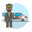 3, chauffeur, event, land, limousine, luxury, male, pickup, taxi, transportation, vehicle icon