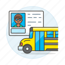 3, bus, commercial, driver, driving, license, male, permit, road, school, transportation icon
