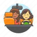 driver, driving, female, land, passenger, road, service, taxi, transport, transportation, uber icon