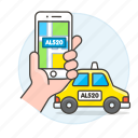 app, cab, hand, license, matching, phone, plate, ride, road, taxi, transportation, user, verification
