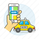 transportation, app, ride, taxi, matching, license, cab, road, hand, user, phone, verification, plate