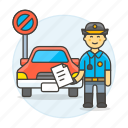 2, car, infraction, male, no, officer, parking, police, tickets, traffic, transportation icon