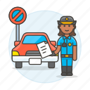 car, female, infraction, no, officer, parking, police, tickets, traffic, transportation icon