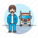 1, and, commercial, driver, male, motorist, transport, transportation, truck, trucker icon