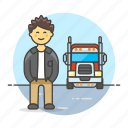 2, and, commercial, driver, male, motorist, transport, transportation, truck, trucker icon