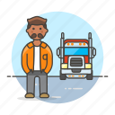 3, and, commercial, driver, male, motorist, transport, transportation, truck, trucker icon