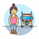 and, commercial, driver, female, motorist, transport, transportation, truck, trucker icon