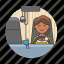 commercial, driver, female, motorist, transport, transportation, travel, truck, trucker icon