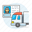 commercial, driver, driving, female, id, info, license, permit, road, transportation, truck icon