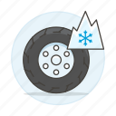 car, features, ice, road, snowflake, status, tire, transportation, winter icon