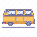 bus, old, side, transportation, vehicle, view icon