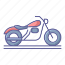 bike, classic, motorcycle, side, transportation, vehicle, view icon