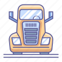 big, front, transportation, truck, vehicle, view icon