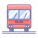 bus, front, transportation, vehicle, view icon