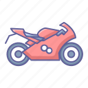 bike, motorcycle, side, sport, transportation, vehicle, view icon