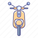 front, matic, motorcycle, scooter, transportation, vehicle, view icon