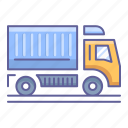 dump, side, transportation, truck, vehicle, view icon