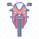 bike, front, motorcycle, sport, transportation, vehicle, view icon