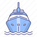 boat, cruise, front, ship, transportation, vehicle, view icon
