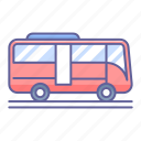 bus, side, transportation, vehicle, view icon