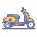 matic, motorcycle, scooter, side, transportation, vehicle, view icon