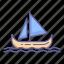 boat, canoe, fisher, sail, sea, transportation, vehicle