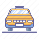 car, front, taxi, transportation, vehicle, view icon