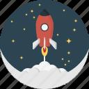 moon, rocket, space, spaceship