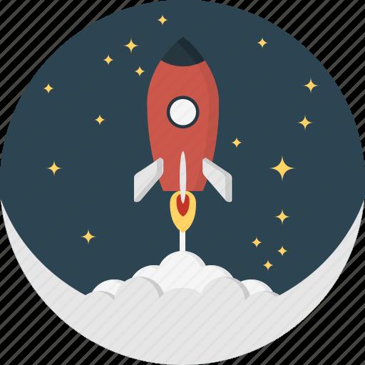 moon, rocket, space, spaceship icon