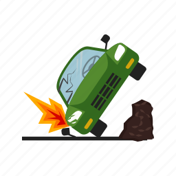 accident, car, crash, damage, destruction, disbalance, transport icon