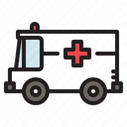 ambulance, colored, hospital, medical, medicine, transportation, van icon