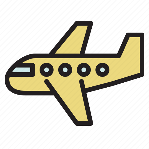 aircraft, airliner, airplane, colored, flight, plane, transportation icon