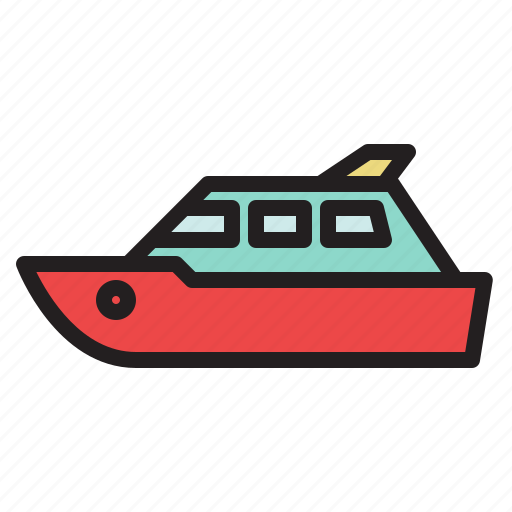 boat, colored, luxury yacht, ship, transportation, yacht icon