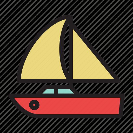 boat, colored, sail boat, sailing, ship, transportation icon