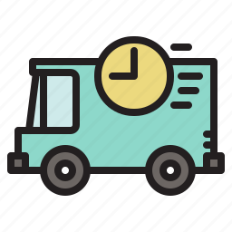 colored, delivery, fast, on time, transportation, van, vehicle icon