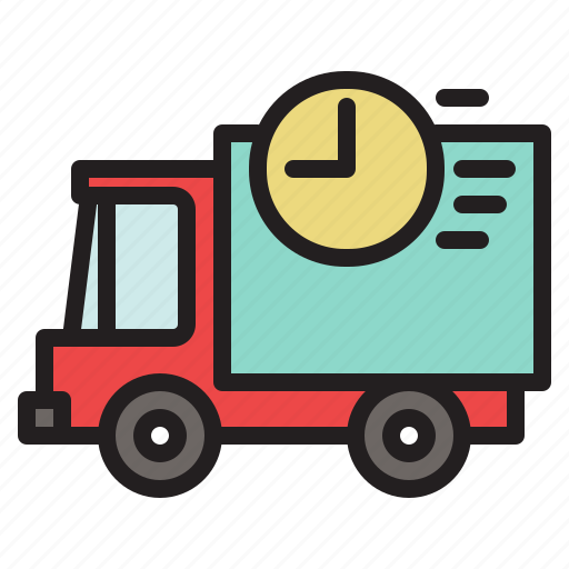 colored, delivery, fast, on time, transportation, truck, vehicle icon