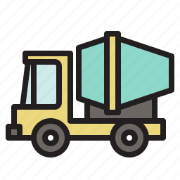 cement, colored, mixer truck, transportation, truck, vehicle icon