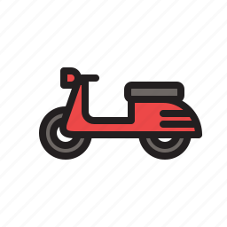 colored, motorcycle, scooter, transportation, vehicle icon