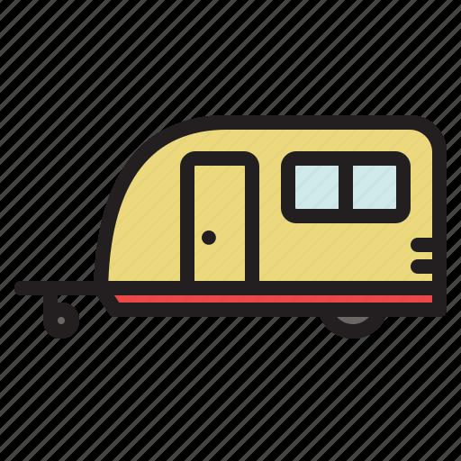 camper, caravan, colored, trailer, transportation, travel, vacation icon