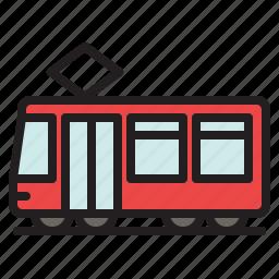 colored, tram, tramcar, tramway, transportation, trolley, trolley car icon