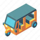 auto rickshaw, automobile, isometric, taxi, transport, tuktuk, vehicle icon