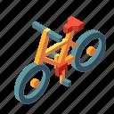 bicycle, bike, biking, isometric, transport, transportation, wheel icon