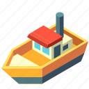 boat, fishing, isometric, transport, transportation, yacht icon